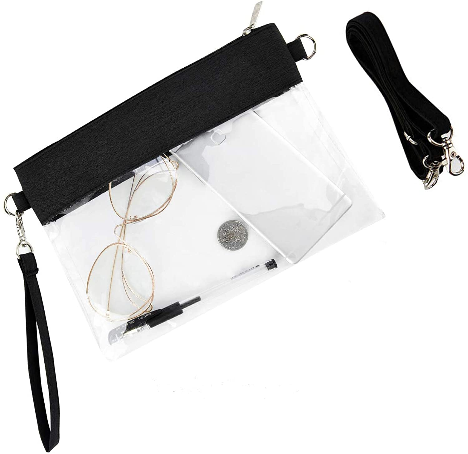 Clear Purse Transparent PVC See Through Crossbody Shoulder Bag Stadium Approved Chest Daypack for Men and Women