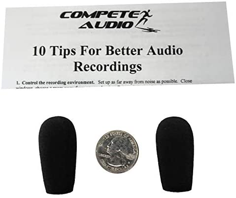 Compete Audio BS30 foam replacement microphone windscreens (microphone covers) (2-pack) for use with Bose Aviation, BlueParrott trucker headsets