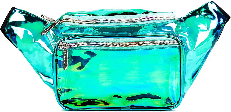 SoJourner Holographic Rave Fanny Pack - Packs for festival women, men | Cute Fashion Waist Bag Belt Bags (Transparent - Aqua)