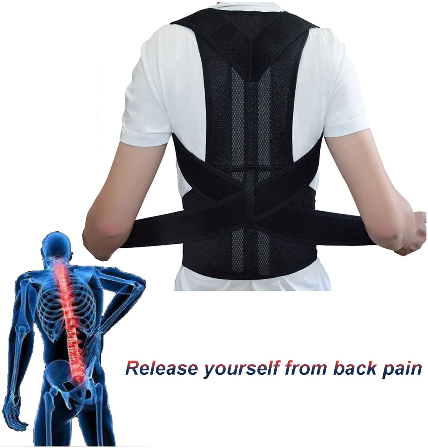 ZSZBACE Posture Corrector Back Brace for Men and Women- Relieve Back Pain, Align Spain, Correct Kyphosis (XXL)