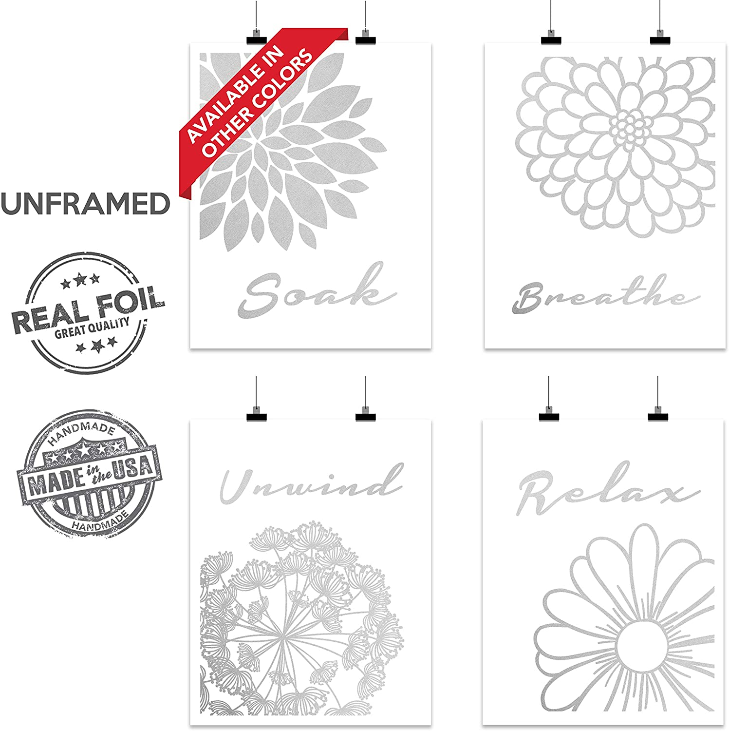 Bathroom Home Wall Art Decor Gift | 4 Abstract Flower Set Foil Relax Soak Breathe Unwind Relax | Motivational and Inspirational Home Prints and Posters for Restroom Toilet | UNFRAMED (8 x 10, Silver)