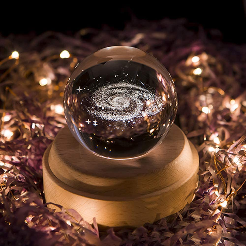 Projection LED Light-3D Crystal Ball Music Box Luminous Rotating Musical Box-Wood Base Best Gift for Birthday Christmas (Galaxy)