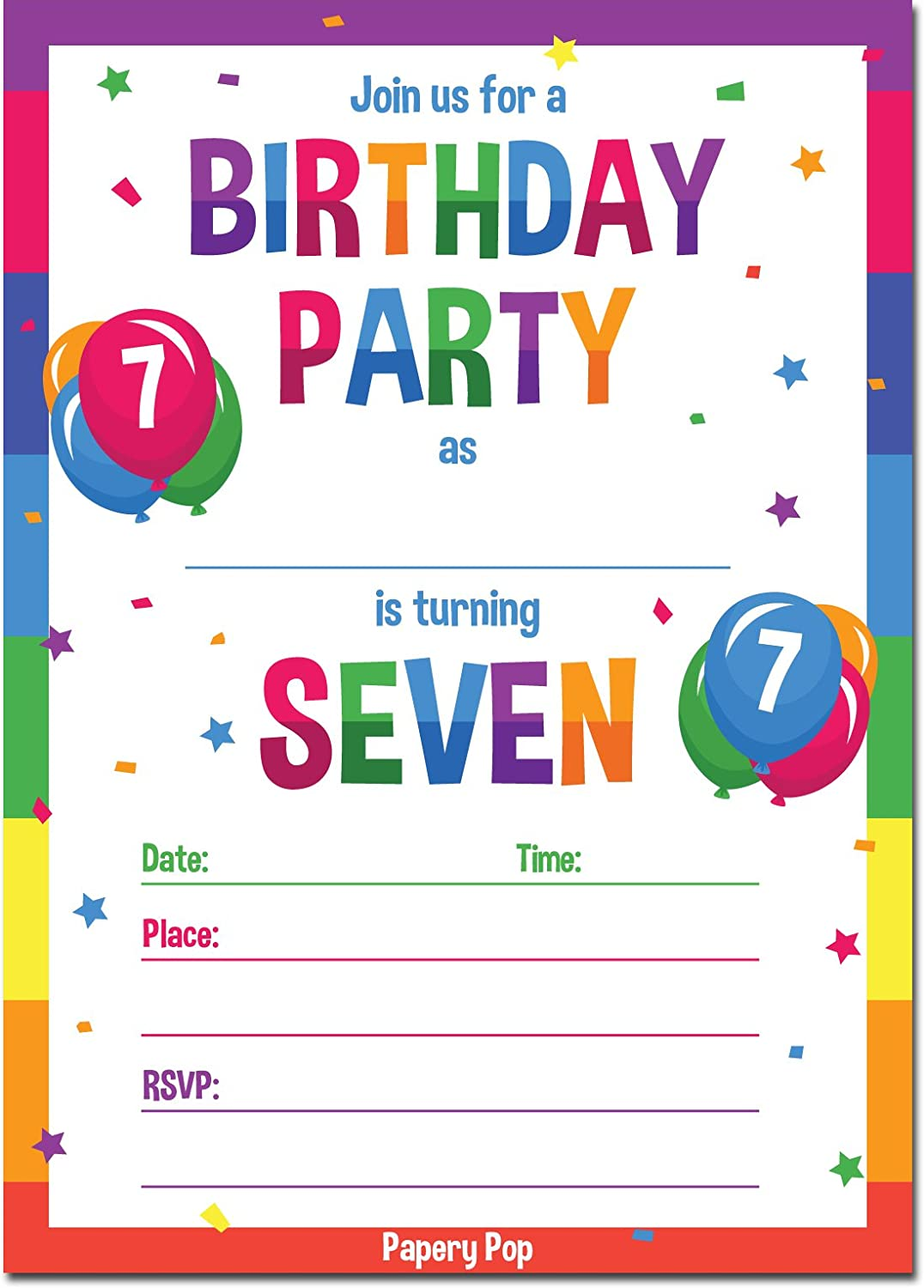 Papery Pop 7th Birthday Party Invitations with Envelopes (15 Count) - 7 Year Old Kids Birthday Invitations for Boys or Girls - Rainbow