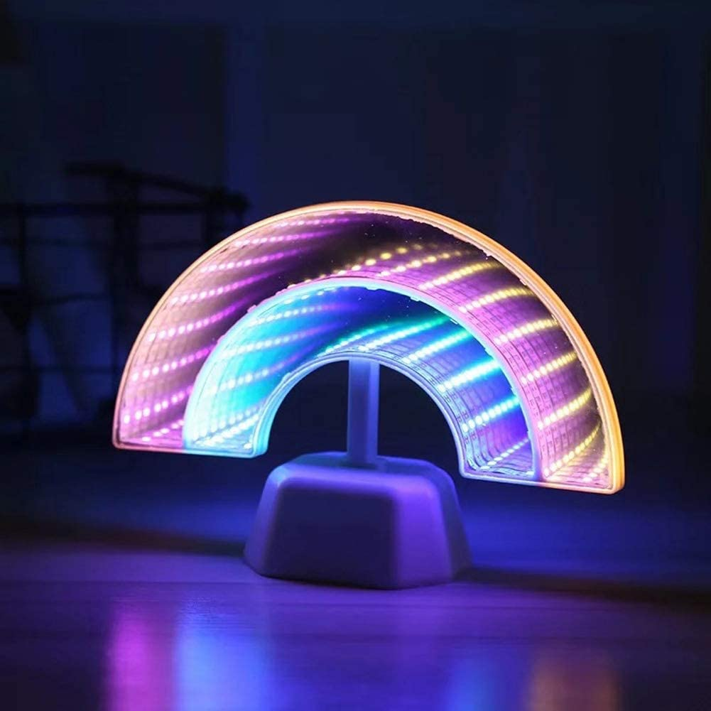 Rainbow Neon Light Sign LED Night Lights Mirror Tunnel Lamp Wall Decorations Desktop Decor Accessories Battery Powered