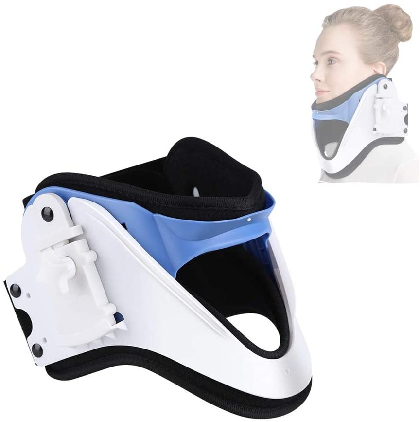 Neck Cervical Tractor, Adjustable Neck Support Brace Traction Treatment with Open Throat Design for Neck Pain Relief Posture Correct and Cervical Collar Spine Stretch Correct Fixation