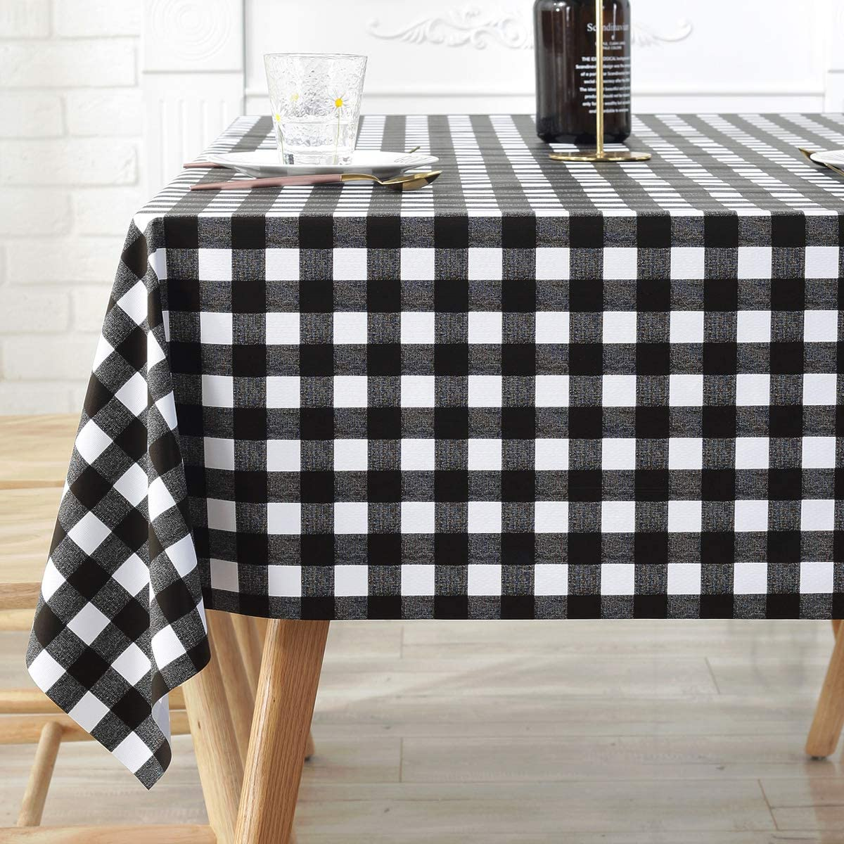 LOHASCASA Plastic Tablecloth Oilcloth Picnic PVC Wipeable Vinyl Spillproof Peva Waterproof Oil Proof Heavy Duty Rectangle Fall Tablecloths for Dining Room Black and White Gingam 54x78 Inch
