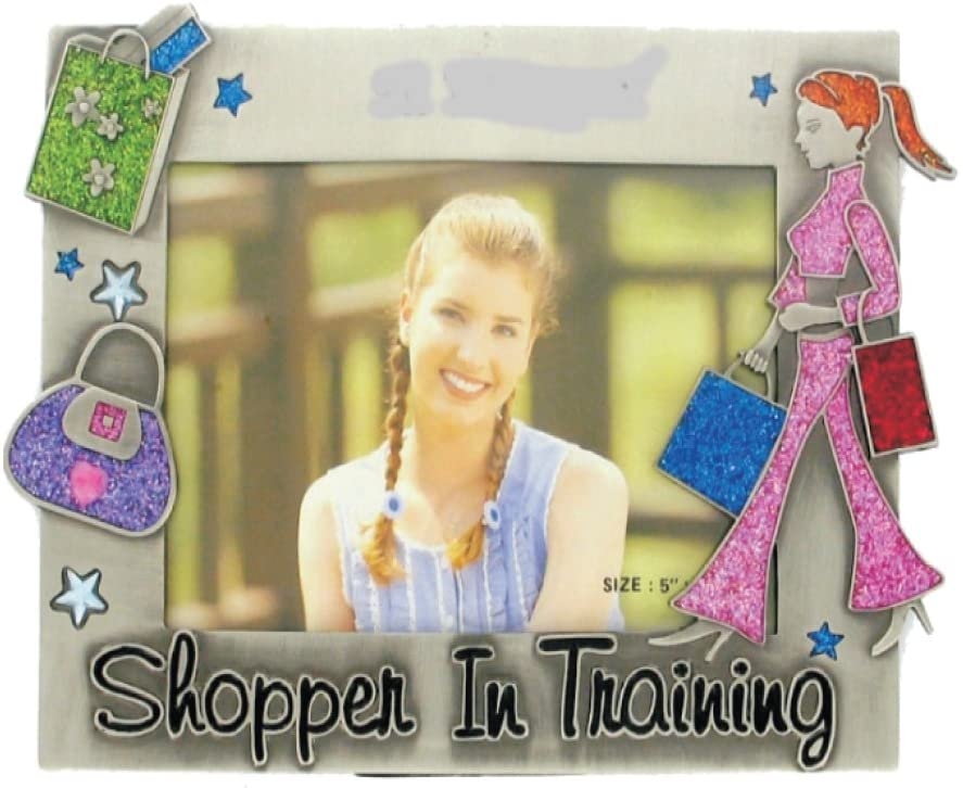 Rockin Gear Picture Frame - 'Shopper in Training' Pewter Holds a 4