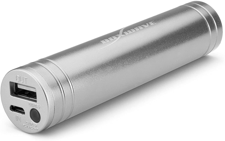 BoxWave Rejuva PowerPack Brite Smartphone Battery Charger + Flashlight Combo - Compact, Portable 2,600 mAh Rechargeable Li-ion Smartphone Battery Charger w/ LED Flashlight (Metallic Silver)