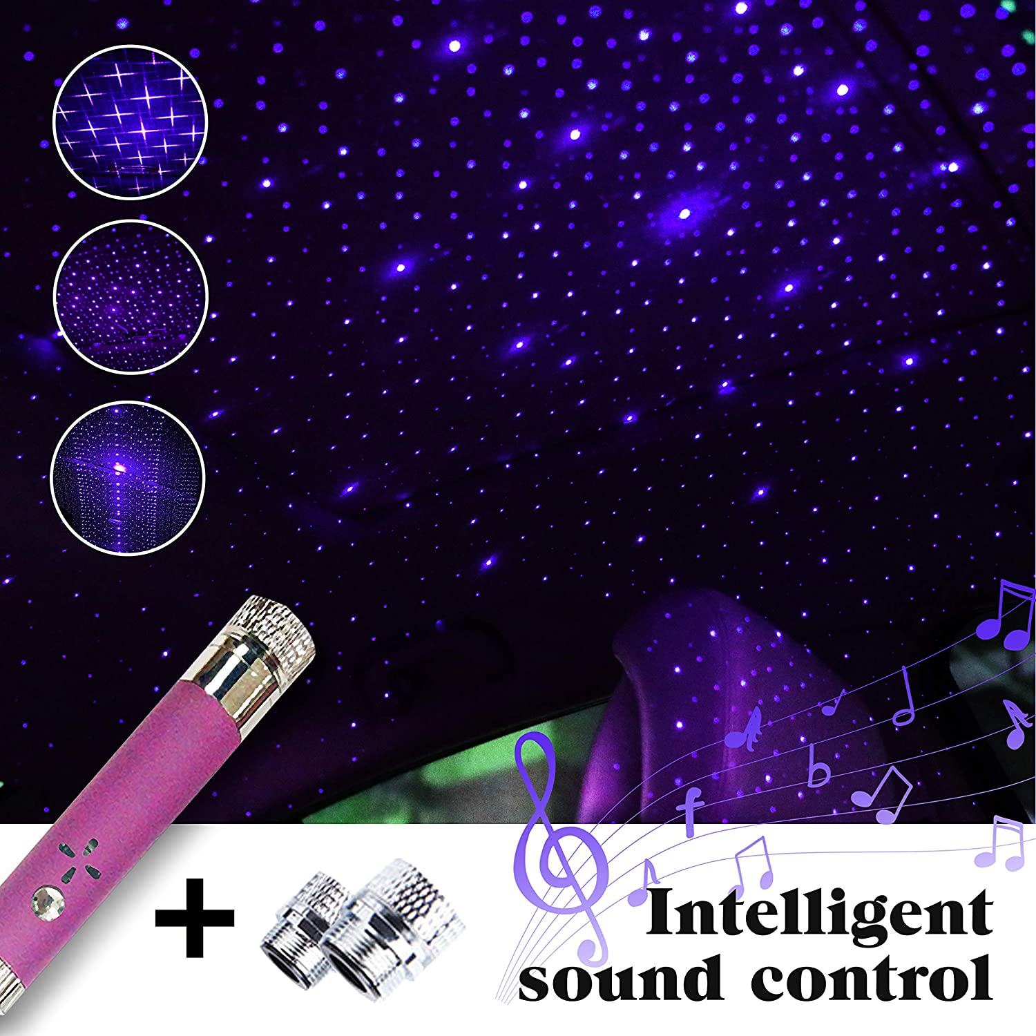 DAVIDLEE Car USB Sound Activated Star Projector Night Light,Romantic Portable Auto Roof Night Lights, Atmosphere Decorations Lamp with Three Modes Purple