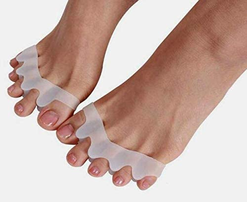 Silky Soft Gel Toe Separators/Toe Spacers to Correct Toes/Gentle Hammer Toe Straightener/Bunion Corrector and Foot Pain Relief/Flexible Durable Toe Spreader for Yoga Foot Alignment (4 Pcs