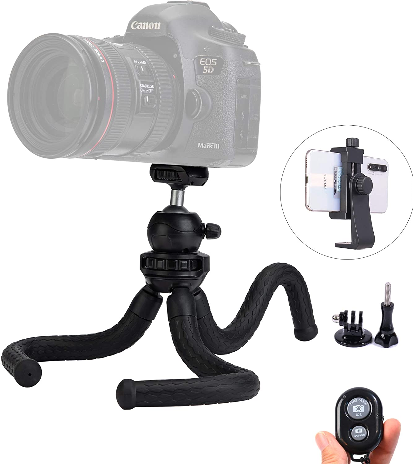 Ruittos Phone Tripod, Cell Phone Flexible Tripod Octopus with Bluetooth Camera Remote, Mobile Tripod Mount Adapter, Compatible with iPhone 11 Xs Samsung Andriod Live Streaming Vlog (Flexible Tripod)