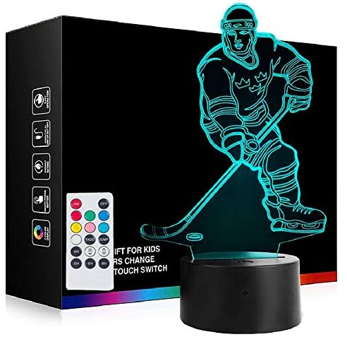 [ 7 Colors/3 Working Modes/Timer Function ] Remote and Touch Control Night Lights, Dimmable LED Bedside Lamp for Children and Kid's Room Deco Christmas Birthday Gifts (Hockey Player)