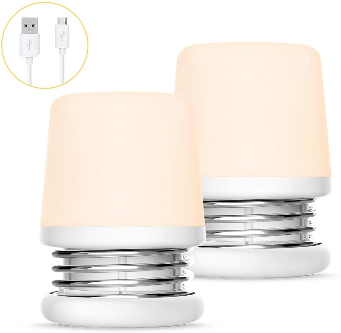 LOHAS Nursery Light Touch Lamp, USB Rechargeable Baby Night Lights, Dimmable Portable Table Lamp for Kids, Soft White 3000K, No Blue Light, Decor Lighting for Children Bedroom Bathroom, 2 Pack