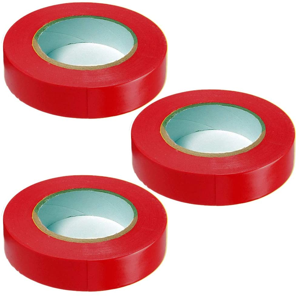 General Purpose Vinyl Electrical Tape - 3/4 Width x 60 Length - Color: Red - 3 Pack