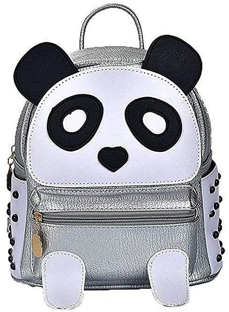 H&N Fashion PU Rivet Bronze Mini Casual Style Panda Backpack/Shoulder/Book Bag