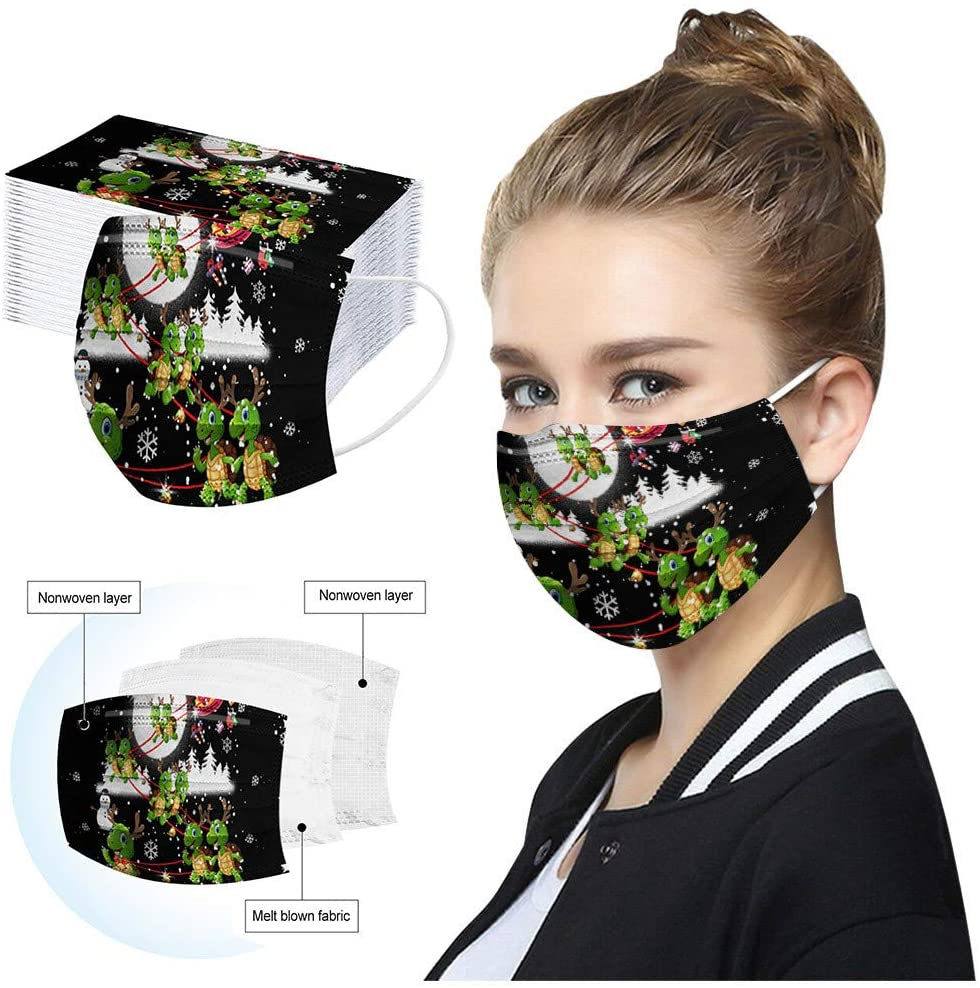 Lucoo 50 Pack Outdoor Cotton Halloween Pattern Face Mask, Washable Face Scarf Industrial 3Ply Ear Loop Disposable, Hand Made Face Coverings for Male Female Protection Made in USA