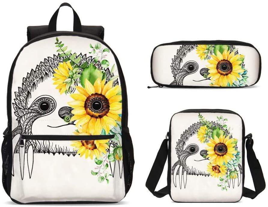 Delerain Sloth 3 PCs Backpack Set for Kids Shoulder Bag Pencil Case