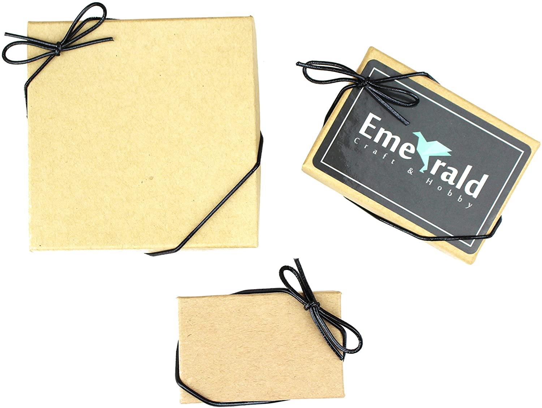Metallic Stretch Loops, Elastic Cord Ribbon, Gift Box Bows, Pack of 50 (10 Inch, Black)