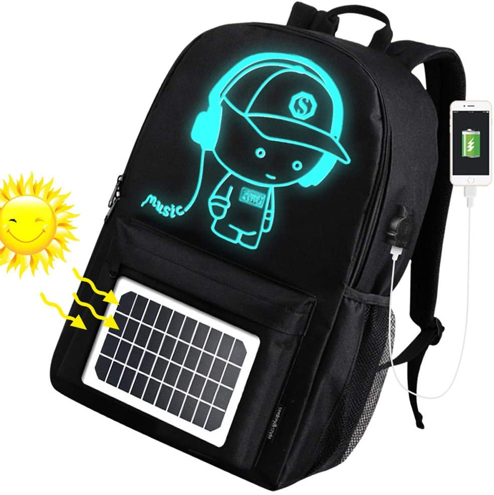 Fanbiya Solar Powered Backpack, Solar School Bag for Hiking and Camping Luminescent Pattern Waterproof Outdoor Recreation (Black)