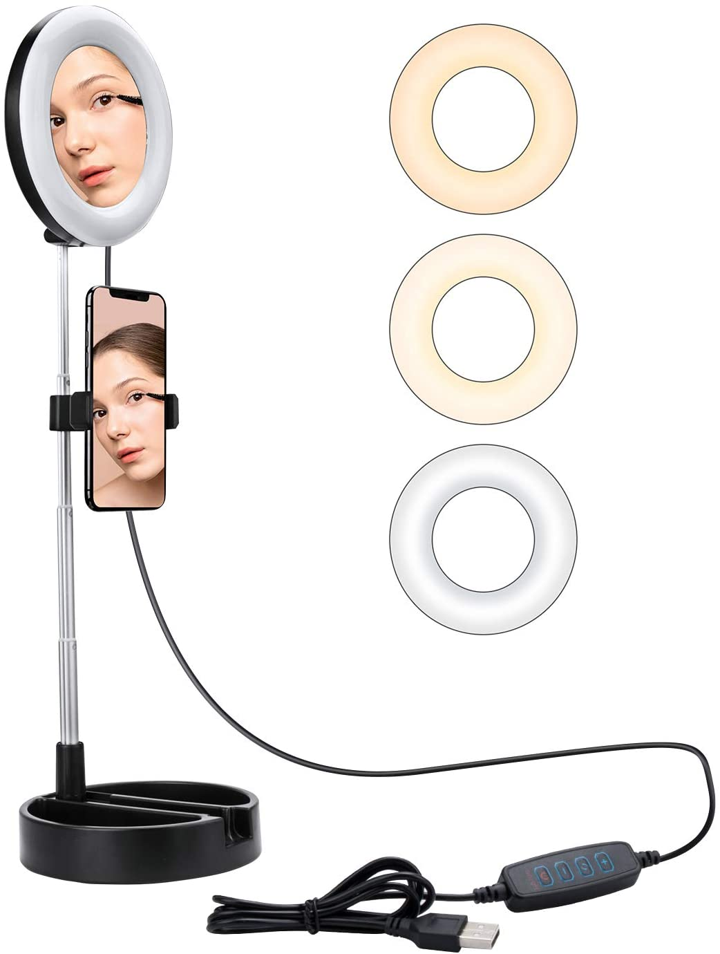 """6"""" Selfie Ring Light Stand,Livelit Desk Foldable Ring Light Built-in Mirror for Makeup YouTube Video Live Streaming Photography Compatible with iPhone&Android (Black)"""