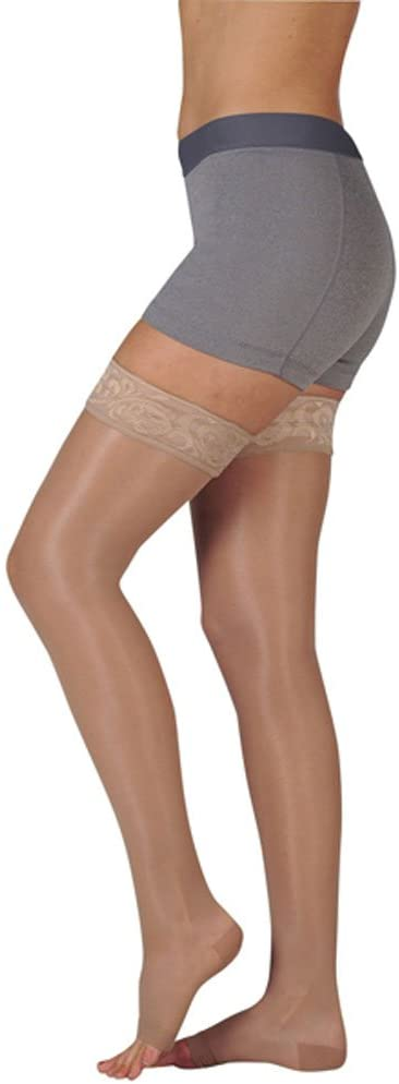 Juzo Naturally Sheer Compression Thigh High w/Silicone Top Band Short Closed Toe 15-20mmHg, II, Beige