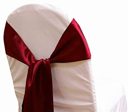 mds Pack of 125 Satin Chair Sashes Bow sash for Wedding and Events Supplies Party Decoration Chair Cover sash -Maroon