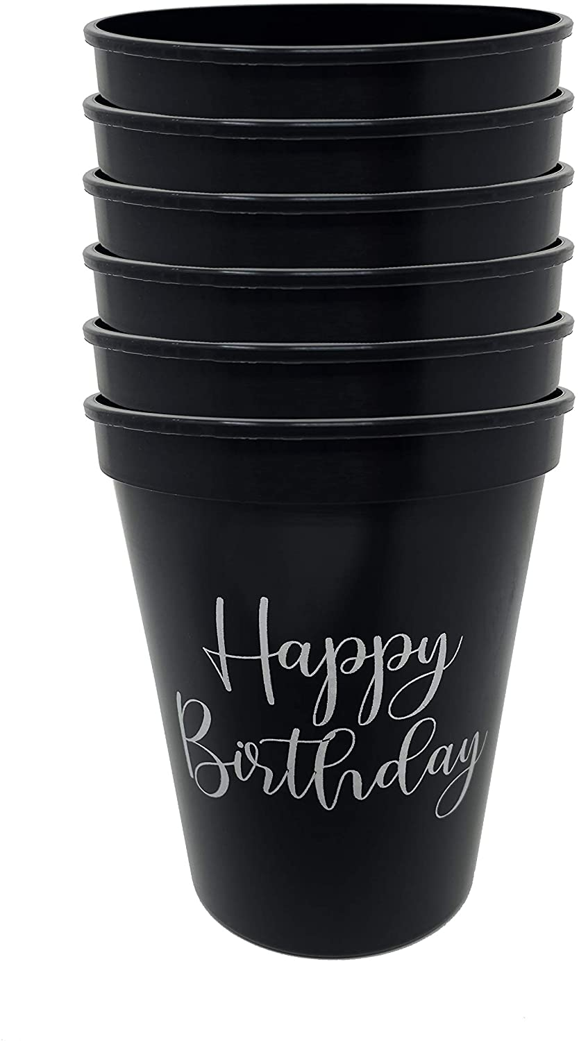 CUP2-6-HB06 Celebration Saying Party CUPs - 6 Happy Birthday (Black)