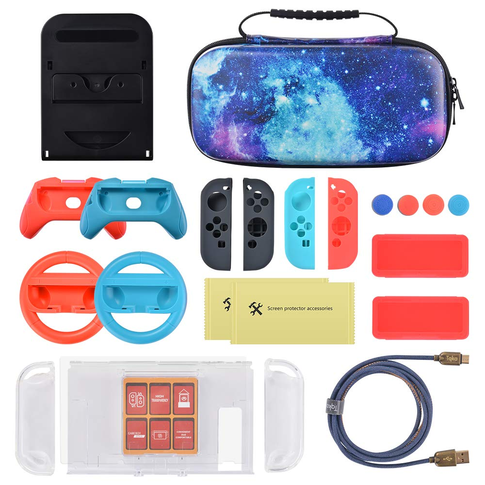 Sunix 13-in-1 Accessories Carrying Case for Nintendo Switch, With 20 Games Cartridges Protective Hard Shell Travel Carrying Case Pouch for Nintendo Switch Console & Accessories