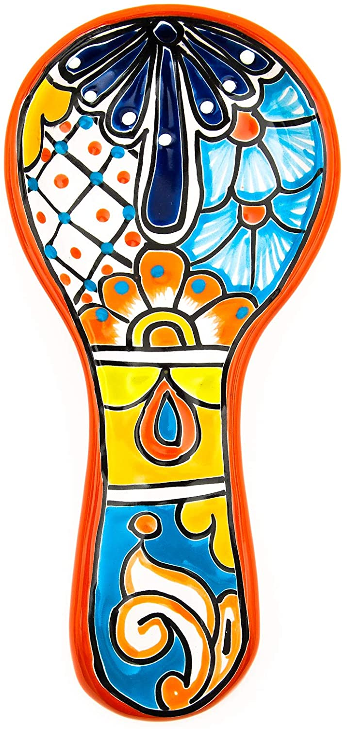 Jayde N Grey Talavera Hand Painted Ceramic Spoon Rest Kitchen Counter top Utensil Holder For Spoons Spanish Mexican Decorations (Large 10 x 4.75, Red)