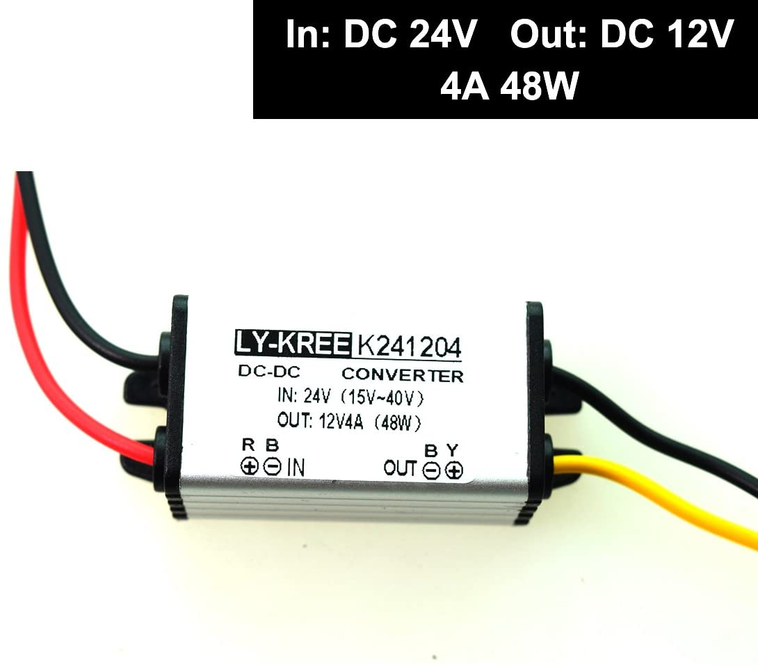 DC 24v to 12v Step Down Converter Reducer Regulator 4A 48W Power Supply Adapter for Auto Car Truck Vehicle Boat Solar System etc. (Accept DC15-40V Inputs)