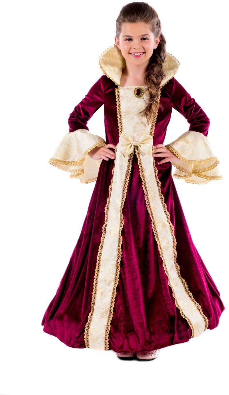 Kids Deluxe Princess Costume Girls Burgundy Royal Gown Queen Dress Outfit - Medium