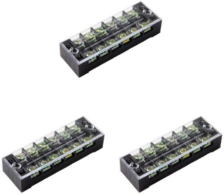 Dual Row Strip 3 pcs 6 Position 12 Screw Terminal Block 25A 600V Fixed Wiring Board wire connector (TB-2506 6P)