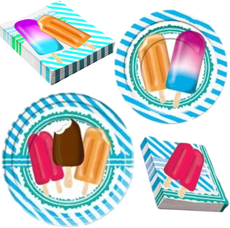 Summer Popsicle Fun Pool & Beach Party Supplies   Bundle Includes Paper Plates & Napkins for 16 People   Frozen Confection Luau Design