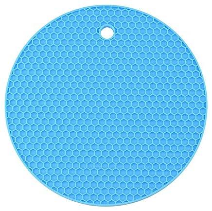 BOZHONG Coaster, Round Heat-Resistant Silicone mat, Coaster Non-Slip Pot mat, Table mat, Kitchen Accessories (Blue,18x18cm)