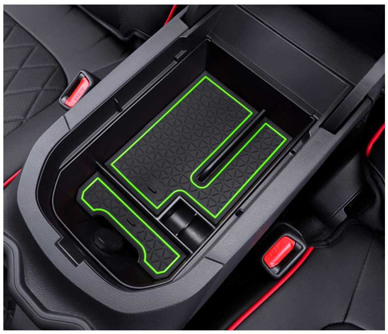 YEE PIN 2019 RAV 4 Center Console Tray Organizer Car Glove Box Storage Box Armrest Box Accessories for 2019 2020 RAV 4 XA50 Console Organizer (green)