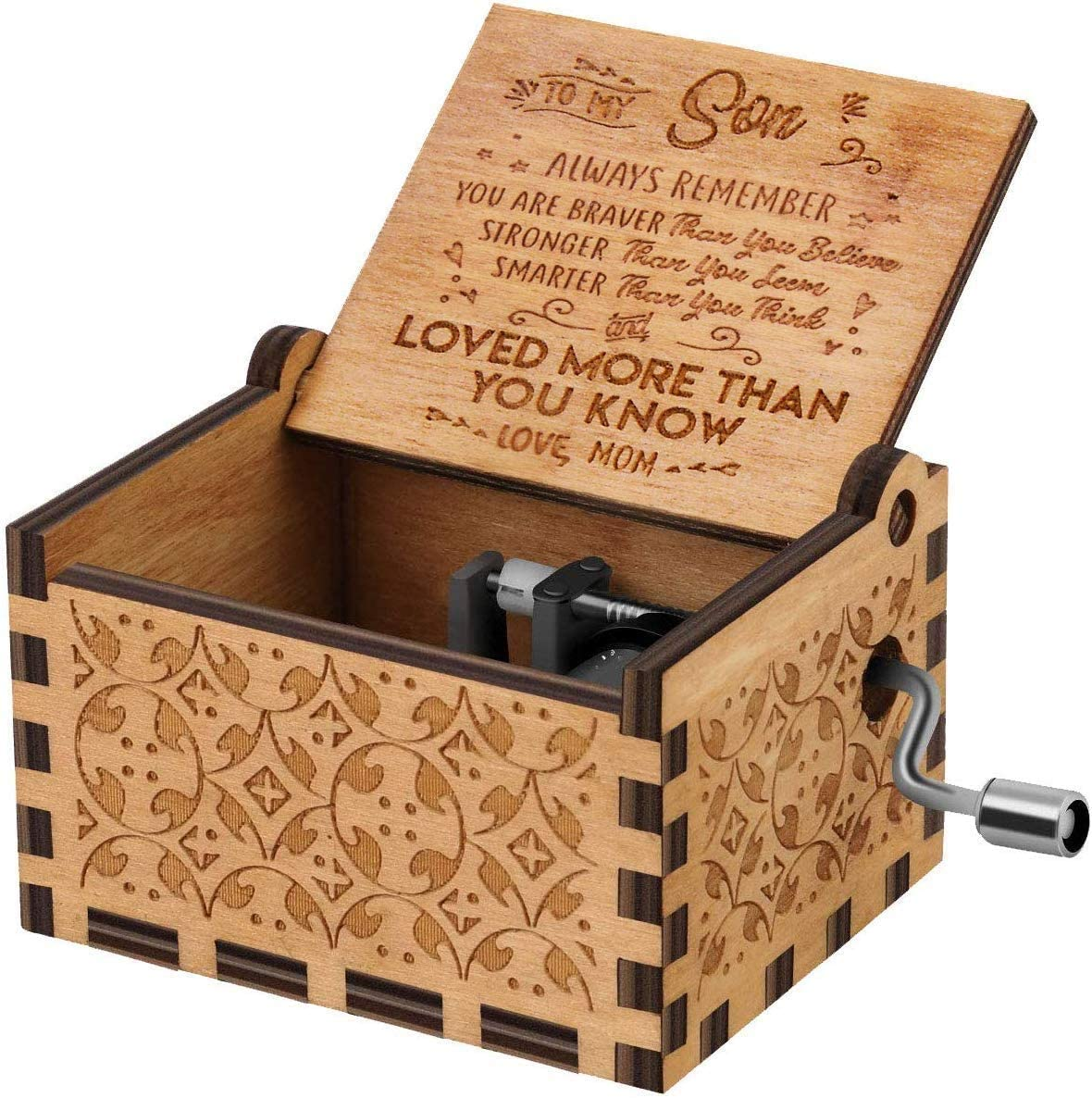CAMKONG You are My Sunshine Wood Music Boxes,Laser Engraved Vintage Wooden Sunshine Musical Box Gifts for Birthday/Christmas/Valentine's Day(mom to Son)
