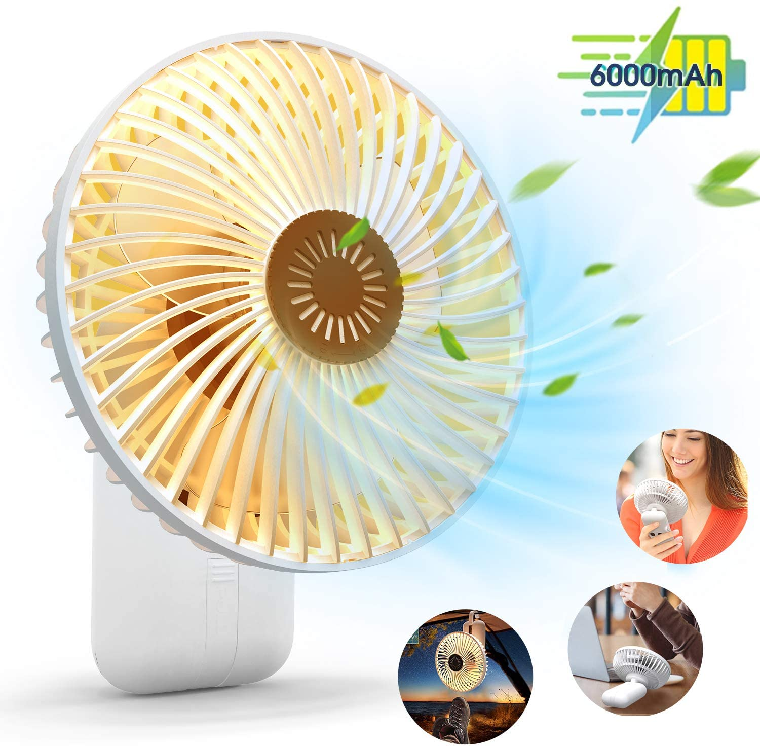 KOXXBASS Portable Fan 5200mAh Desk Fan USB Camping Fan Rechargeable Battery Operated Handheld Stroller Fan with Camping Lantern and Hanging Hook for Tent Car RV Hurricane Emergency Outages
