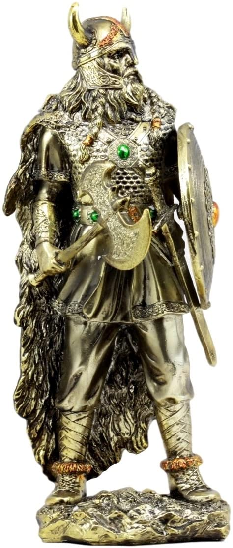 Ebros Gift Nordic Seafarer Viking Bull Berserker Warrior with Battle Axe and Broad Shield Figurine 13.5