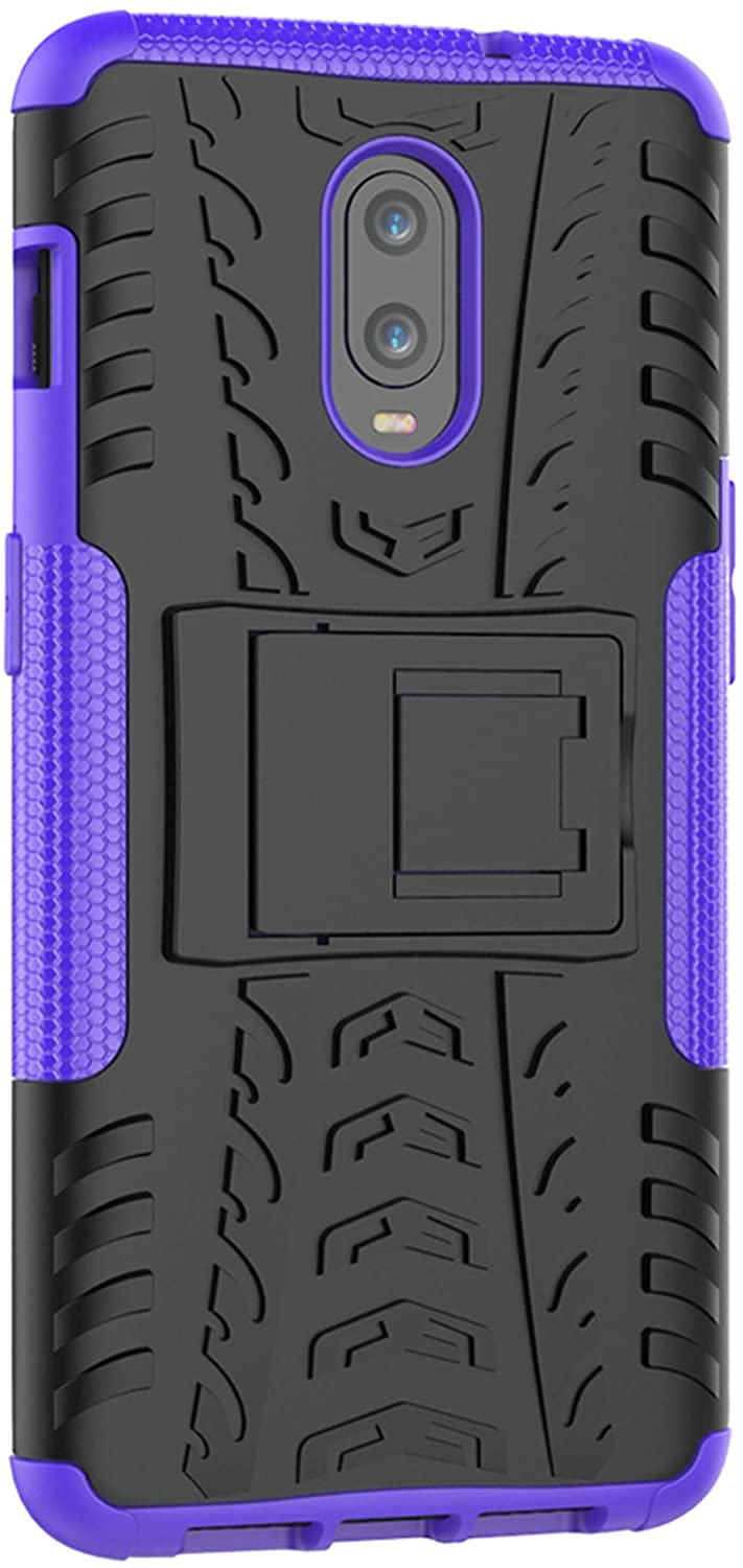 XINFENGDI Oneplus 6t Case,TPU+PU Shock-Absorbing Scratch-Resistant Back Cover with Air Cushion Technology,Anti-Slip Phone Cover for Oneplus 6t - Purple