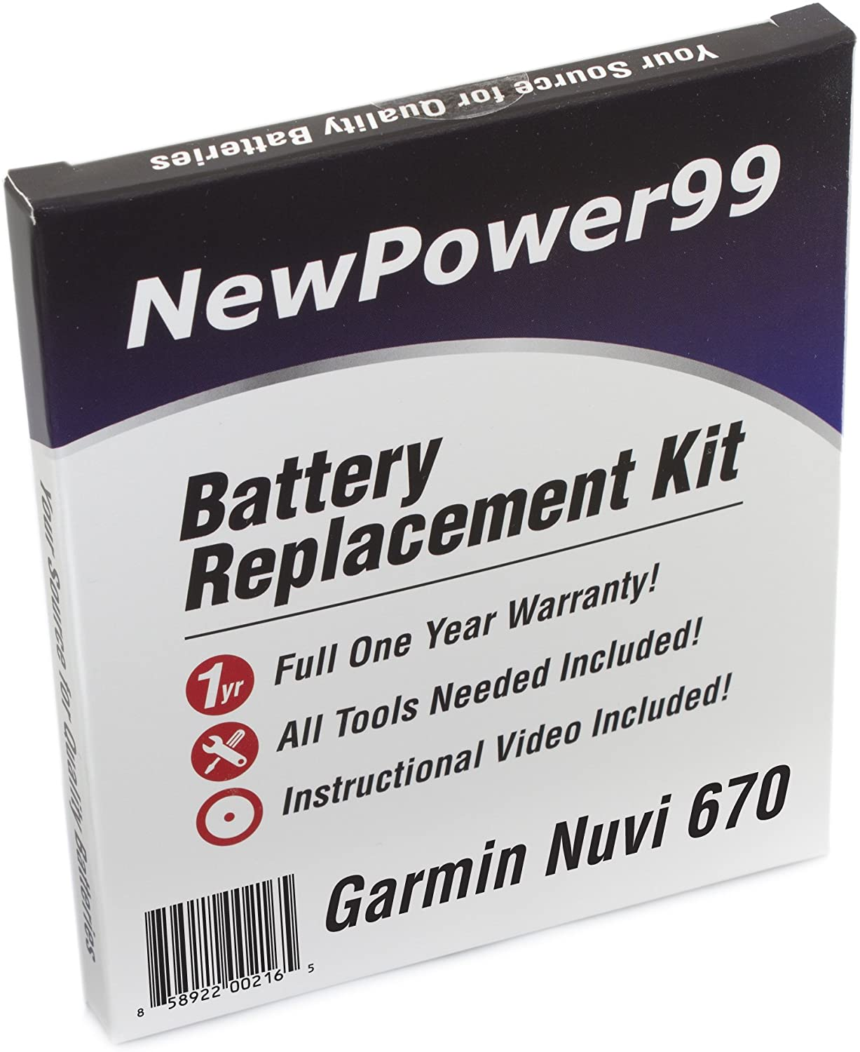 NewPower99 Battery Replacement Kit with Battery, Video Instructions and Tools for Garmin Nuvi 670