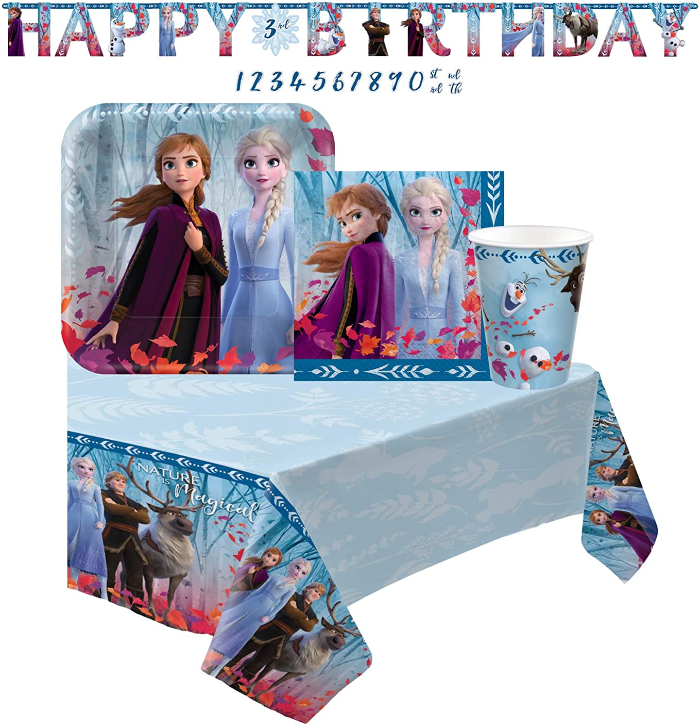 Disney Frozen 2 Themed Birthday Party Supplies for 16 Guests - Bundle Includes Paper Plates, Napkins, Cups Table Cover and Banner