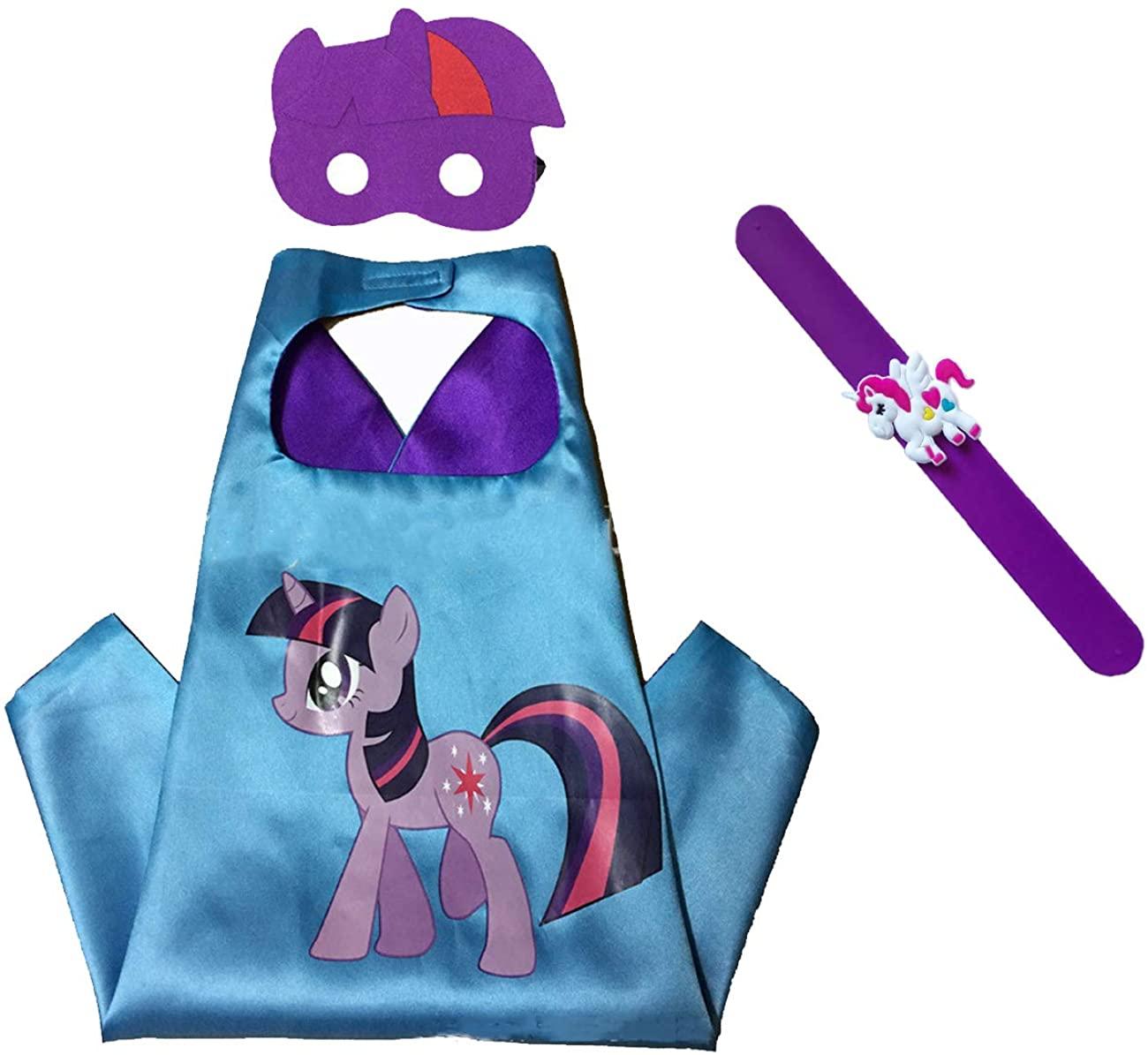 Raclove My Little Pony Costume Set—Cape, Mask and Pops Bracelet for Age 4-10 Kids