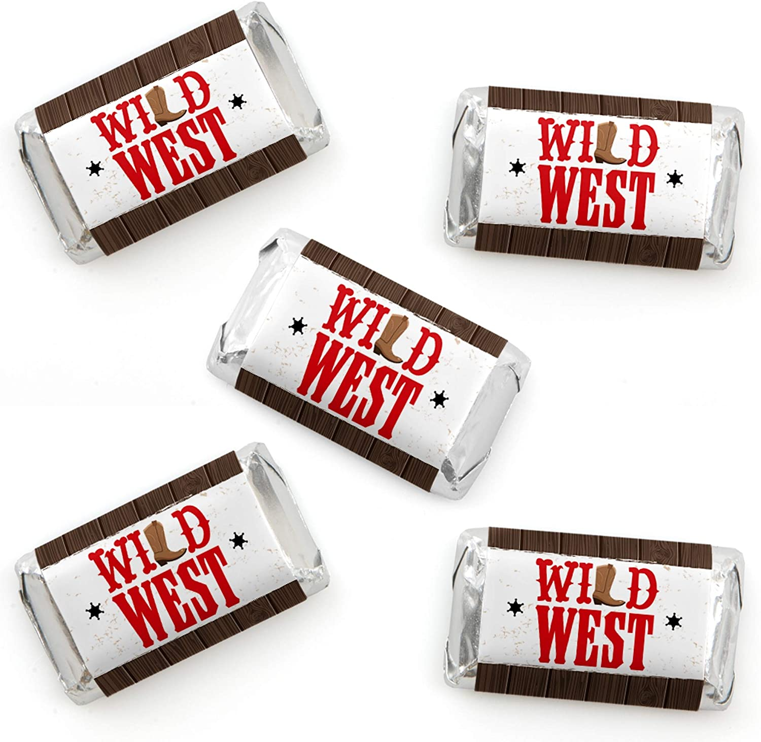 Big Dot of Happiness Western Hoedown - Mini Candy Bar Wrapper Stickers - Wild West Cowboy Party Small Favors - 40 Count