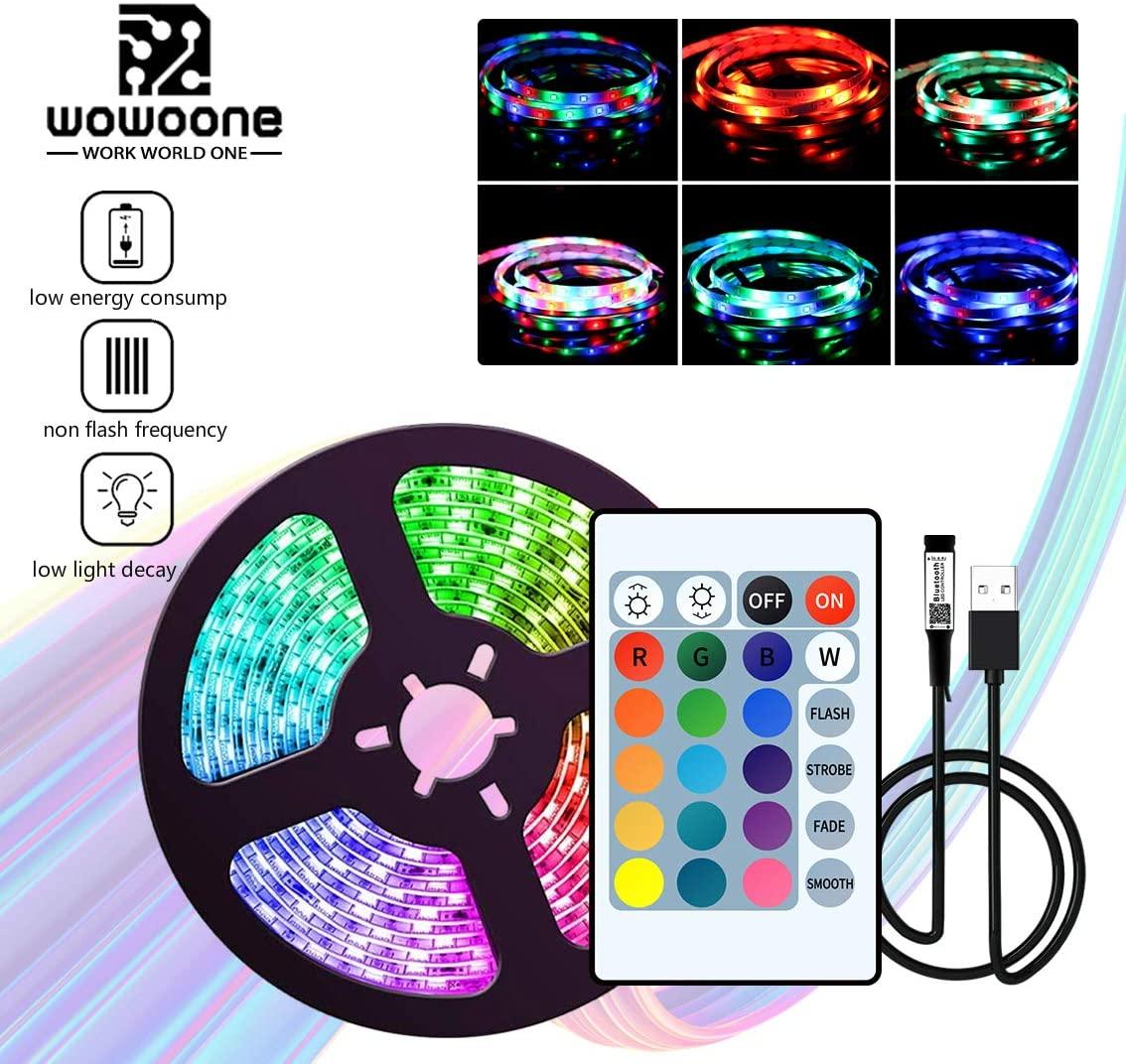 Eiechip 5V USB LED Strip Light 16.4ft,RGB TV Backlight 2835 Lighting for TV Room Holiday Decoration with 24 Keys Remote Controller
