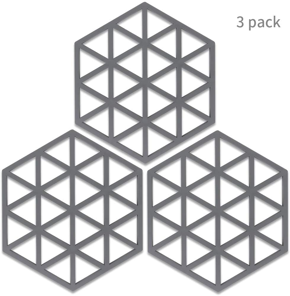 Silicone Trivets Mats for Dishes and Pots,Trivets Hot Pads for Table Countertops,Heat Resistant Trivets,Silicone Kitchen Pot Mat Table Decor trivets Pads for Bowl Dish Cooking Dining Set,3 Color Gray