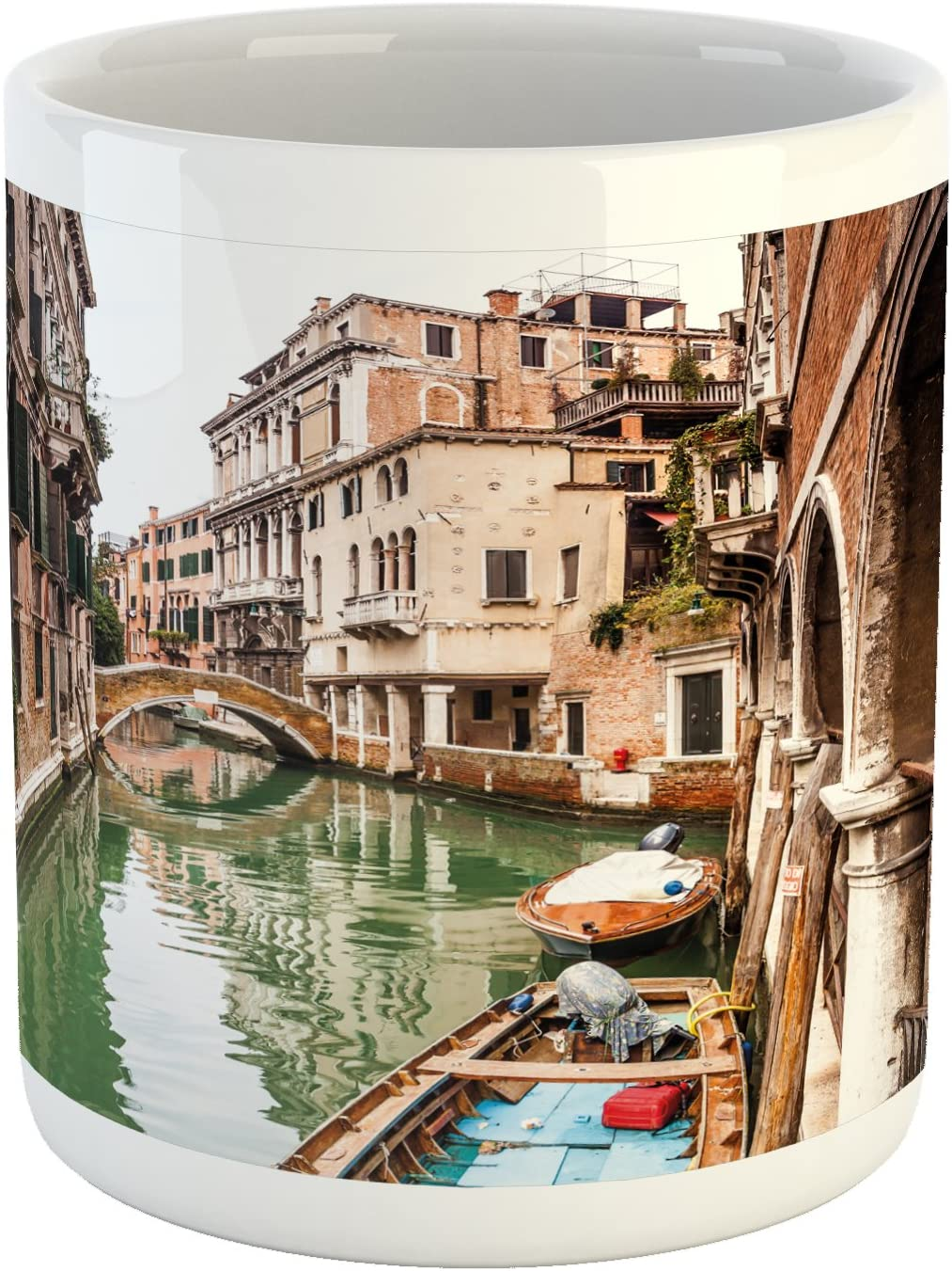 Ambesonne Venice Mug, Famous Water Canals in Italy Boats Bridge Brickwork Architecture Old City, Ceramic Coffee Mug Cup for Water Tea Drinks, 11 oz, Brown Green