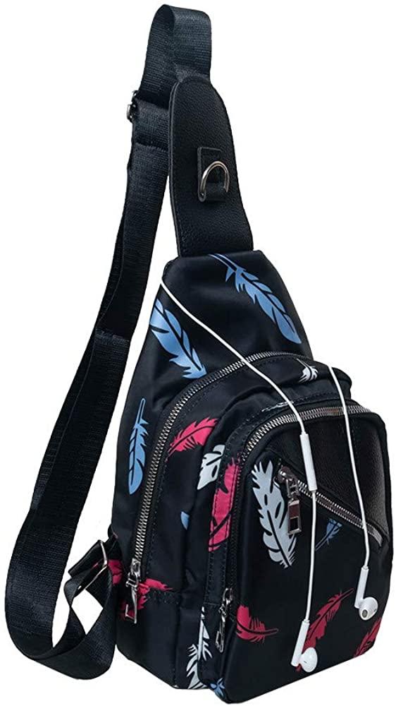 Saigain Women's Universal Fashion Chest Sling Bag Adjustable Shoulder Pattern Causal&Outdoor