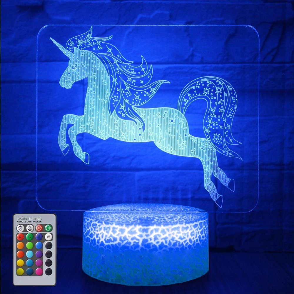 eTongtop Night Lights for Kids Unicorn 3D Night Lamps Birthday Gifts or Kids Room Décor with Remote 7 Colors Adjustable