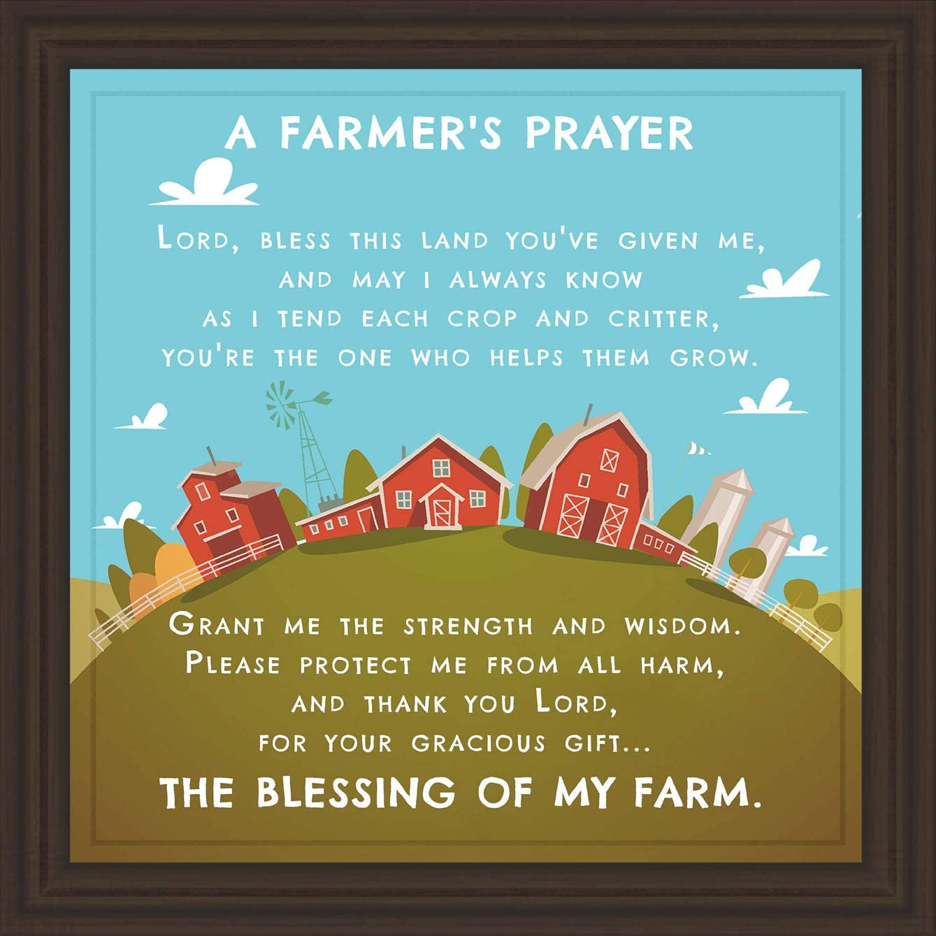 Farmer Gifts | 7x7 Tile Artwork Perfect Farmhouse Decor | Gift Ideas for Farmers | Decorative Art Print for Farm | Living Room, Bedroom, Kitchen, Country Decoration | Custom Rustic Ceramic Wall Print