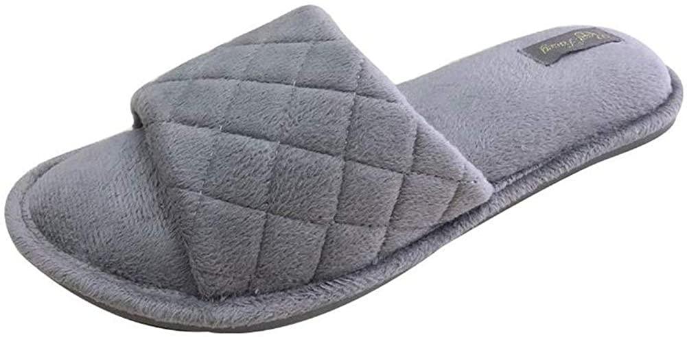 Real Fancy Women's Memory Foam Soft Terry Open Toe House Slippers Comfort Non-Slip Slip On Home Shoes